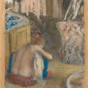 Femme nue accroupie vue de dos. Edgar Degas