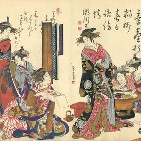 Miroir (ou comparaison) de la calligraphie des courtisanes ; nouvelles beautés du Yoshiwara.