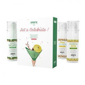 Coffret de 3 huiles de massage. Let's Celebrate. Exsens.