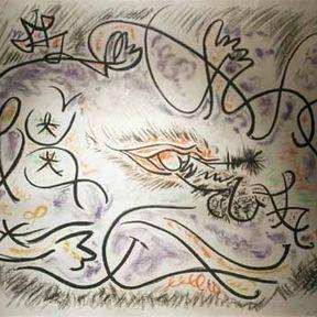 Lithographie d'André Masson, entre Eros et Thanatos