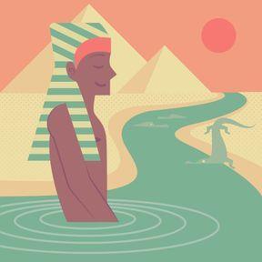 En Egypte : Onanisme dans le Nil.